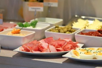 The breakfast buffet in Crystls Aparthotel is varied and offers something for every taste